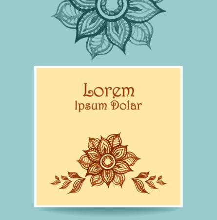 hand made: Banner plantilla o un volante o un paquete con agua de color flores abstractas en color beige azul colores marrones. Plantilla creativa tendencia vector. Hecho a mano el estilo de dibujo.