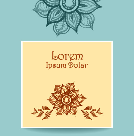 perfumer: Template Banner or flyer or packet with water color abstract flowers in beige blue brown colors. Creative trend vector template.  Hand made doodle style. Illustration