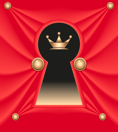 royal person: Keyhole from red silk with crown. Concept of secret or background for the new taste of the product with the royal quality. Creative vector template.  Concept Very important person account. Illustration