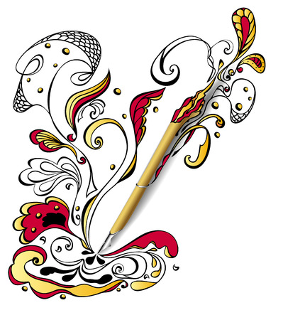 parlor: Gold Draw pen with doodle on white. Concept creativity or advertising graphic program or devices or Tattoo parlor.