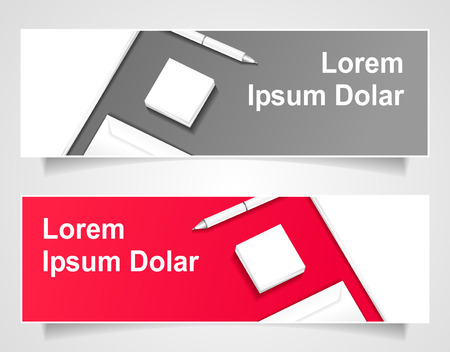 Set Banners with papers, envelop, pen, note paper for  business on grey and  red background. Template of contact. Illustration
