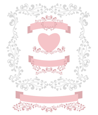 decorate element: Set decorate element for Valentines Day or for Wedding or for romantic style design