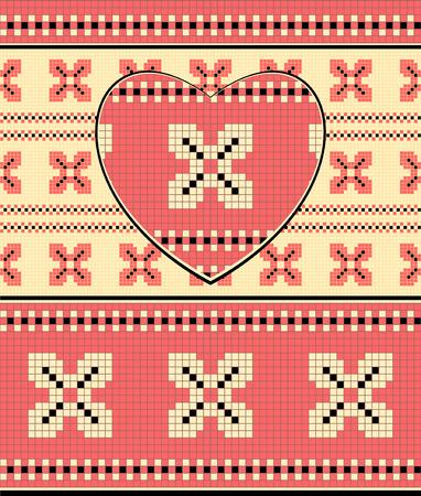 rosa negra: Fondo con el coraz�n en el ornamento de Ucrania en rosa colores beige negro