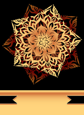 perfumer: Creative Flyer or background with abstract flower star in black Gold colors