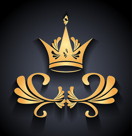 royal quality: Gold Crown with decoration elements and shadow on black. Emblem of  royal quality product for banners labels button.
