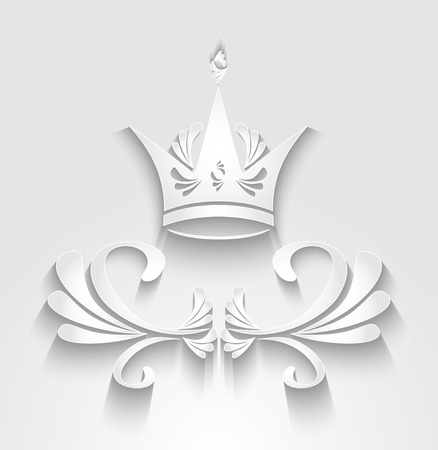 royal quality: Crown with decoration elements and shadow on white. Emblem of  royal quality product for banners labels button.