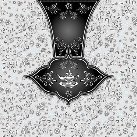 Background  with  seamless pattern in doodle style for advertising Tea or package or template  in white silver grey black colors