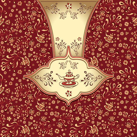 Background  with  seamless pattern in doodle style for advertising Tea or package or template  in gold red black colors Illustration