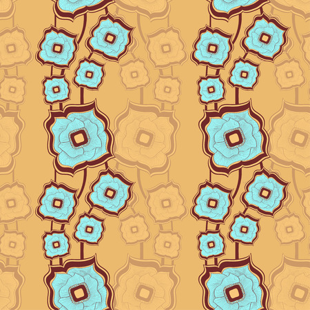 texturing: Seamless pattern with Abstract doodle square flowers blue beige background for textile and texturing differing things Illustration
