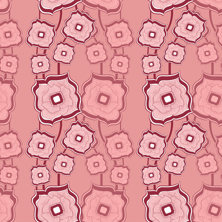 texturing: Seamless pattern with Abstract doodle square flowers pink background for textile and texturing differing things