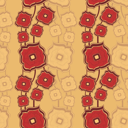 differing: Seamless pattern with Abstract doodle square flowers red beige background for textile and texturing differing things