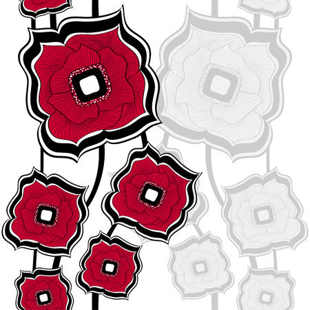 differing: Seamless pattern with Abstract doodle square flowers  red white background for textile and texturing differing things