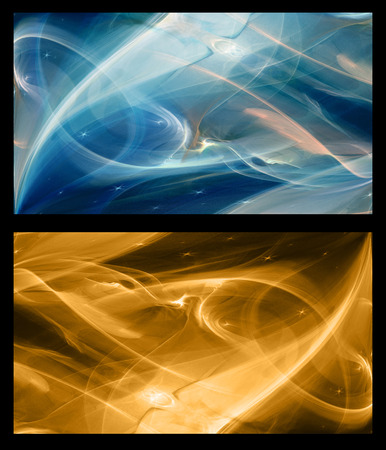 gold brown: Two Abstract Fractal horizontal backgrounds cosmic light in  dark blue and in gold brown Stock Photo