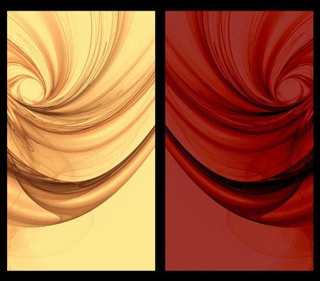 tulle: Two Abstract Fractal vertical backgrounds tulle effect  in gold red