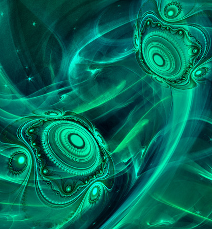 Abstract Fractal background cosmic light spheres planet in dark green colors for screen mobile telephone tablet monitor,   for banners,  for flyers, for music, for computer games, decorate different things photo