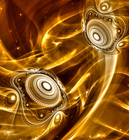 Abstract Fractal background cosmic light spheres planet in gold colors for screen mobile telephone tablet monitor,   for banners,  for flyers, for music, for computer games, decorate different things photo