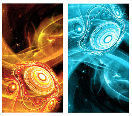 decorate mobile telephone: Two Abstract Fractal vertical backgrounds with cosmic light spheres planet for screen mobile telephone tablet monitor,  for banners,  for flyers,