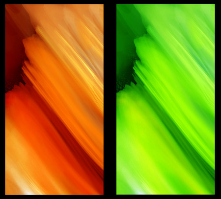 decorate mobile telephone: Two Abstract Fractal vertical backgrounds in green and orange for screen mobile telephone tablet monitor,  for banners,  for flyers,