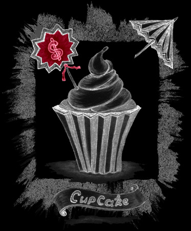Handmade chalk sketch cupcake with price umbrella ribbon on black decorate handmade texture border from brush stroke.  For sweet restaurant or cafe menu, Vector