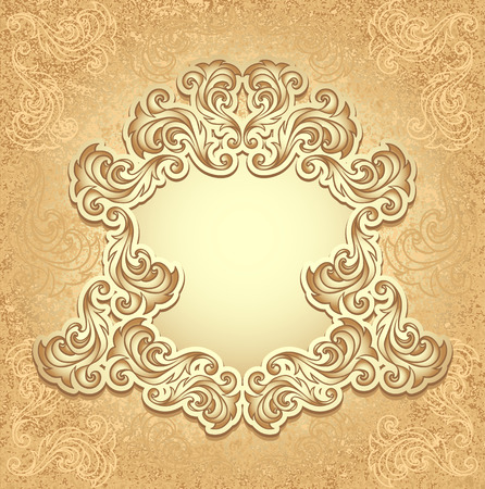 perfumer: Vintage frame in gold color for invitation or congratulation wedding or Christmas or New Year or for decorate perfumer or cosmetic or for package