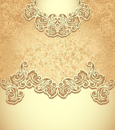 perfumer: Template vintage background in gold colors for invitation or congratulation or package perfumer, cosmetic, jewelry, sweets, tea, cigarettes or for label vine, vodka, liker