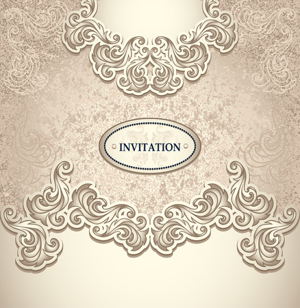 perfumer: Template vintage background in pearly beige colors for invitation or congratulation or package perfumer, cosmetic, jewelry, sweets, tea, cigarettes or for label vine, vodka, liker Illustration