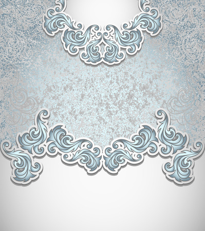 Template vintage background in silver blue colors for invitation or congratulation or package perfumer, cosmetic, jewelry, sweets, tea, cigarettes or for label vodka, liker Vector