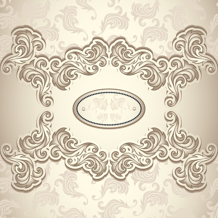 Vintage background with seamless pattern in pearly beige colors for invitation or congratulation or for package perfumer, cosmetic, jewelry, sweets, tea or for label Wine, vodka, liker Vector