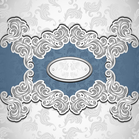 Vintage background with seamless pattern in silver blue colors for invitation or congratulation or for package perfumer, cosmetic, jewelry or for label vodka, liker Vector