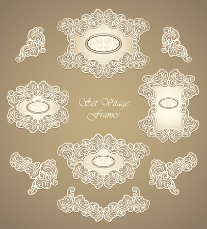 perfumer: Set vintage frames and border in Antique style pearly beige colors for invitation or congratulation or for restaurant menu or for package perfumer, cosmetic, jewelry or for label Illustration