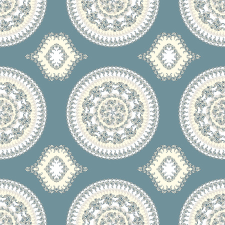 Seamless pattern with circle ornament  in blue  beige colors and Antique style for decorate different things Vector