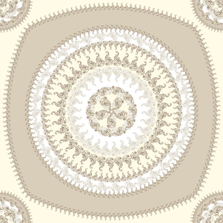 decorate: Seamless pattern with circle ornament  in beige colors and Antique style for decorate different things Illustration