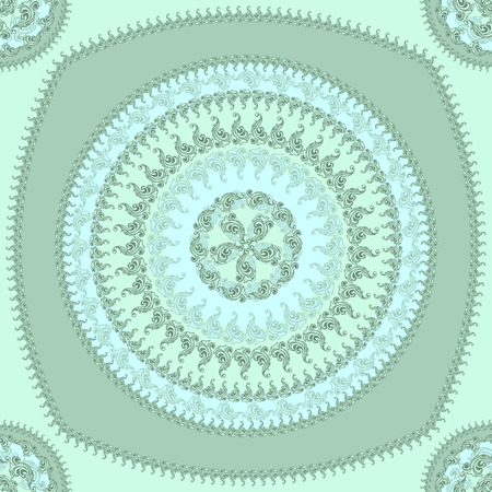 decorate: Seamless pattern with circle ornament  in marine blue colors and Antique style for decorate different things