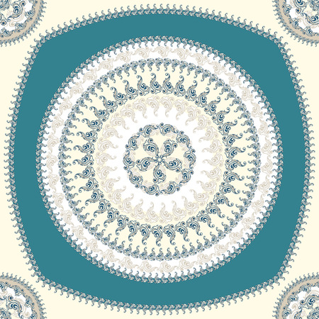 Seamless pattern with circle ornament  in beige blue colors and Antique style for decorate different things Vector