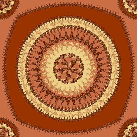 decorate: Seamless pattern with circle ornament  in brown colors and Antique style for decorate different things