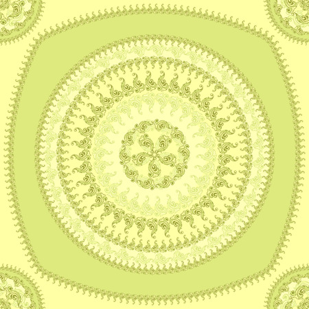 Seamless pattern with circle ornament  in green colors and Antique style for decorate different things Vector