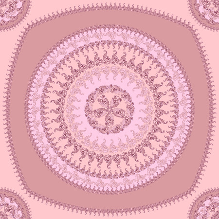 decorate: Seamless pattern with circle ornament  in pink lilac colors and Antique style for decorate different things Illustration