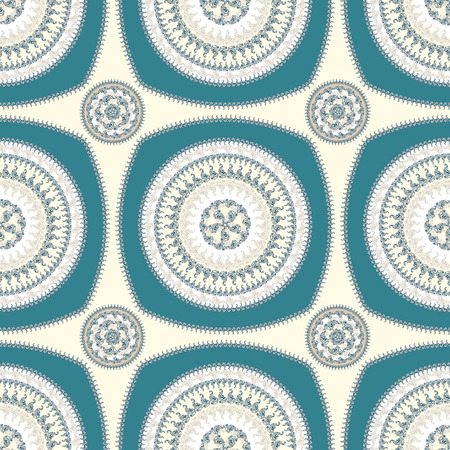 Seamless pattern with circle ornament  in beige blue colors and Antique style for decorate different things photo