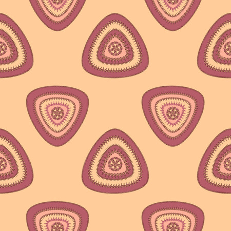 decorate: Abstract Seamless pattern with triangle in beige lilac and  in  Ethnic style for decorate different things