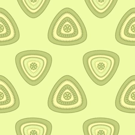 decorate: Abstract Seamless pattern with triangle in green light and  in  Ethnic style for decorate different things