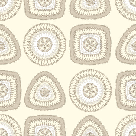 decorate: Seamless pattern with circle triangle square in beige pearly colors and  in  Ethnic style for decorate different things Stock Photo