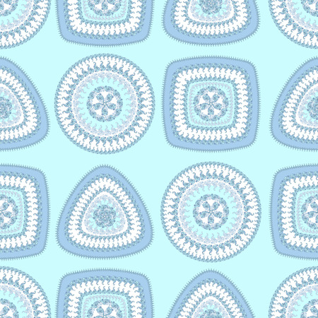 decorate: Seamless pattern with circle triangle square in light blue colors and  in  Ethnic style for decorate different things