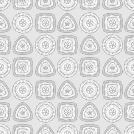 decorate: Seamless pattern with circle triangle square in grey colors and  in  Ethnic style for decorate different things