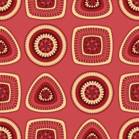 decorate: Seamless pattern with circle triangle square in red beige colors and  in  Ethnic style for decorate different things Stock Photo