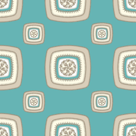 decorate: Abstract Seamless pattern with square on beige blue in  Ethnic style for decorate different things Stock Photo