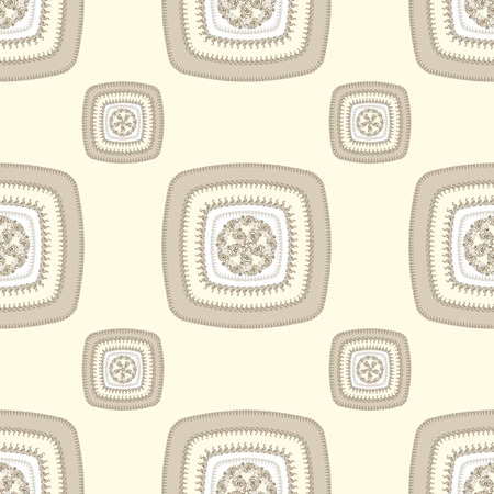 decorate: Abstract Seamless pattern with square in beige and  in  Ethnic style for decorate different things