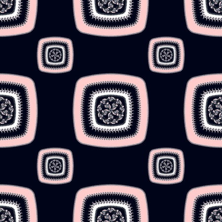Abstract Seamless pattern with square on black   in  Ethnic style for decorate different things photo