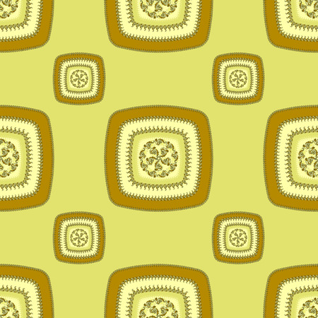 decorate: Abstract Seamless pattern with square on green  in  Ethnic style for decorate different things
