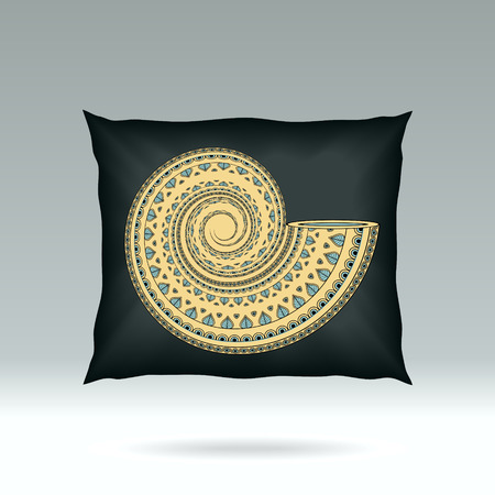 d cor: Black Pillow with style ornament shell  for design elements  or for decoration  interior or for sale in internet shop Illustration