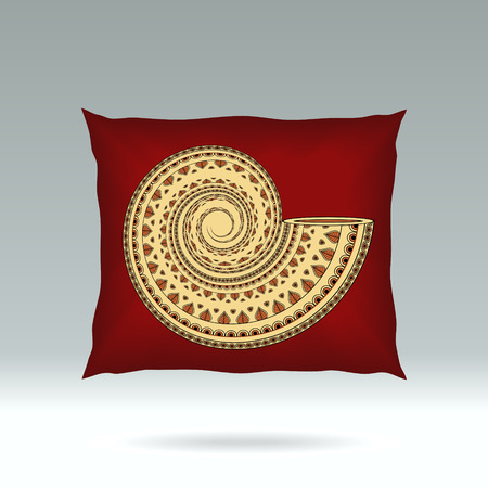 d cor: Red Pillow with style ornament shell  for design elements  or for decoration  interior or for sale in internet shop